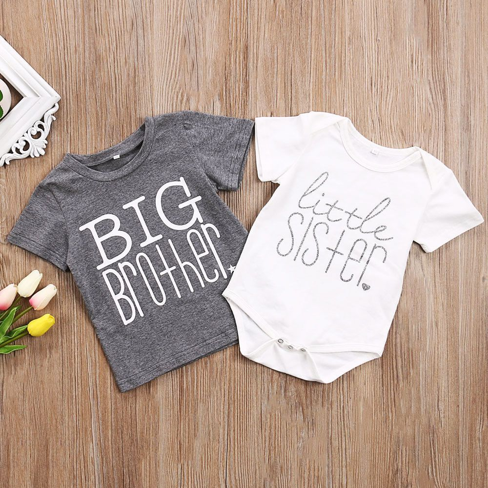Big Brother T Shirt Little Sister Cotton Bodysuit Short Sleeve Letter Tops Camisas De Hermanos Ropa Recien Nacido Camisetas