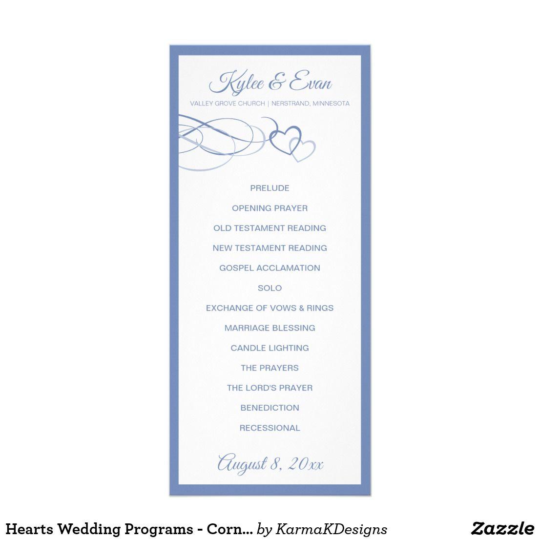 Hearts Wedding Programs - Cornflower Blue-Gray | Wedding programs ...