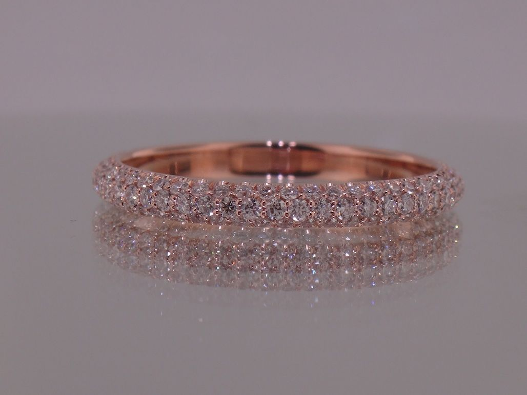 Josh Levkoff - Collection, Rings - 375) Rose Gold 3 Row MicroPave ...