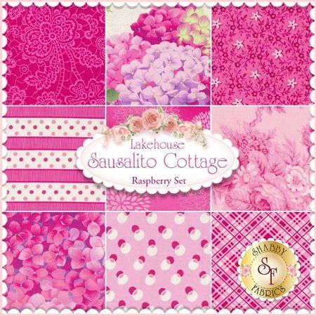 Sausalito Cottage Raspberry 9 FQ Set by Lakehouse Dry Goods - Holly Holderman: Sausalito Cottage is a bright floral collection by Holly Holderman for Lakehouse Dry Goods. This set contains 9 fat quarters, each measuring approximately 18