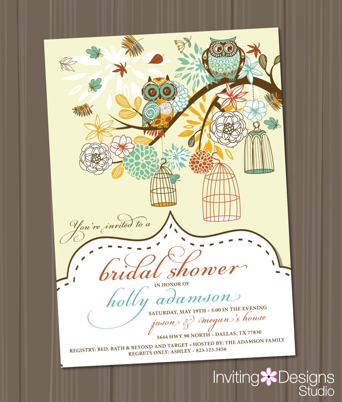 Owl Bridal Shower Invitation, Birdcage, Retro, Vintage, Wedding Shower Invitation, Birds. $18.00, via Etsy.