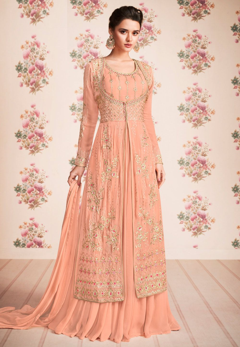 a91b1e624c Buy Peach Georgette Anarkali Suit With Jacket 162495 online at lowest price  from huge collection of salwar kameez at Indianclothstore.com.