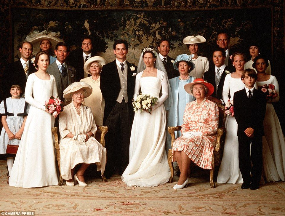 Lady Sarah Armstrong-Jones with her husband Daniel Chatto, at their wedding in 1994. Also included (back row) are: Prince Edward, Prince Charles, Lord Snowdon, Princess Anne The Princess Royal, Prince Philip, (front row); Queen Mother, Princess Margaret, and HM the Queen