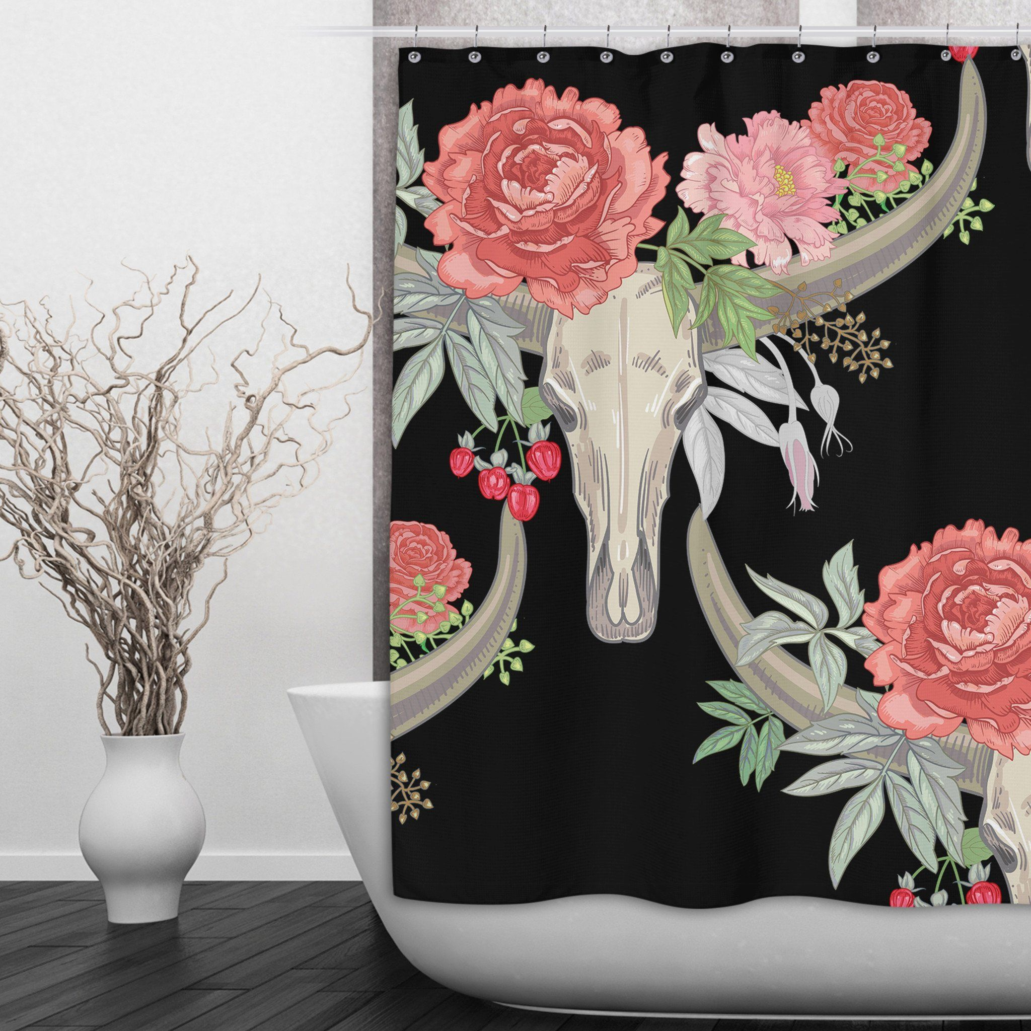 Flower And Texas Longhorn Skull Shower Curtains And Optional Bath