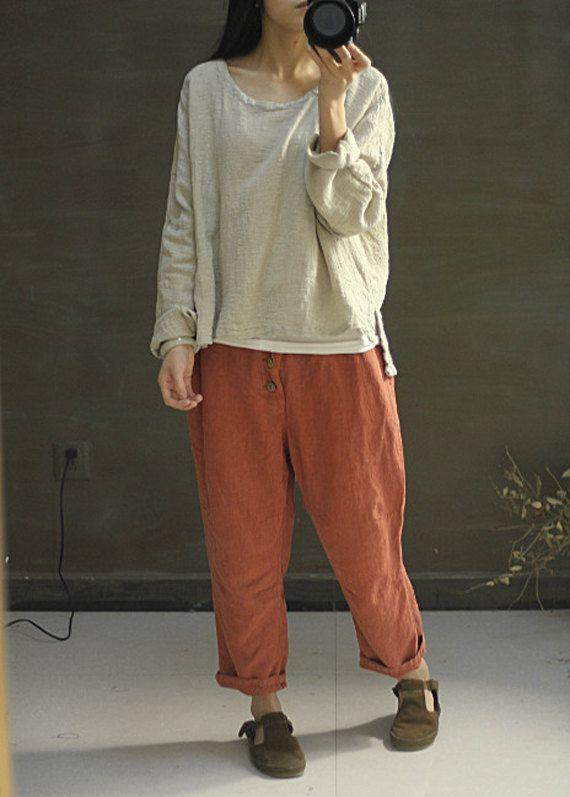 Rosso mattone sciolti pantaloni lunghi lino casual di FashionGD