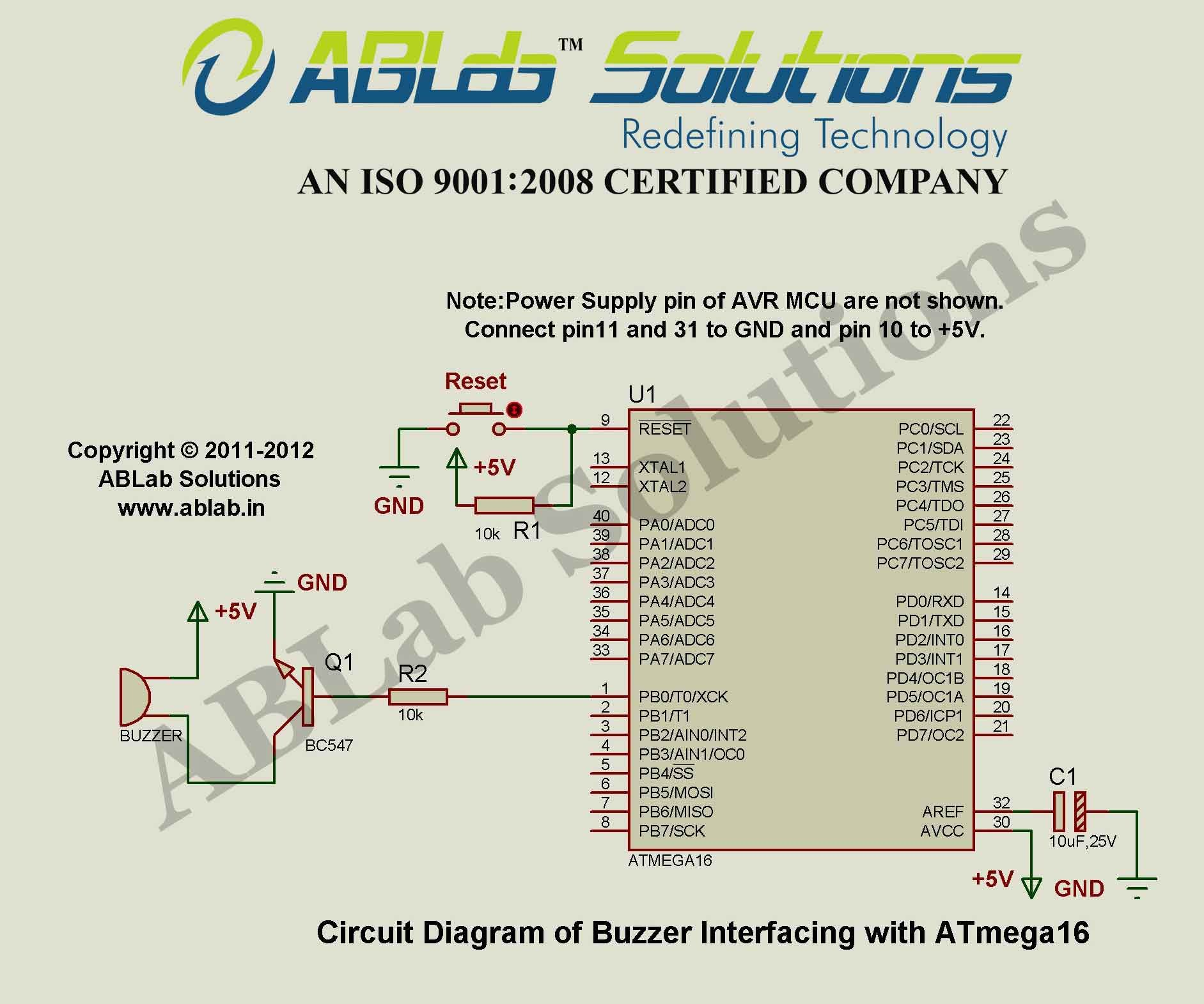 Buzzer Interfacing With Avr Atmega16 Microcontroller Circuit Diagram Project Code Ablab Solutions