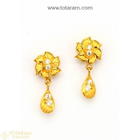 6865cb221c5d5c 22K Gold Earrings for Women with Cz - 235-GER8795 - Buy this Latest Indian Gold  Jewelry Design in 3.700 Grams for a low price of $236.80