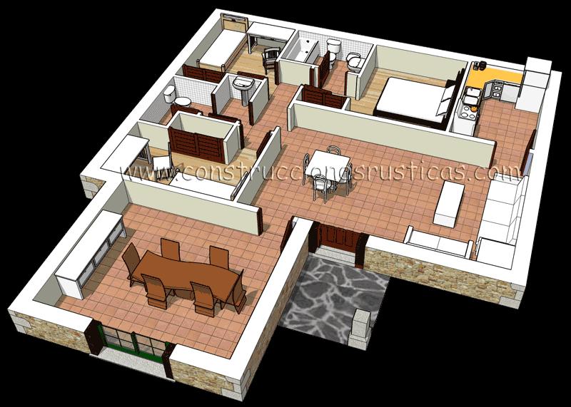 3d de distribuci n interior de casa r stica de planta baja - Distribucion casa ...