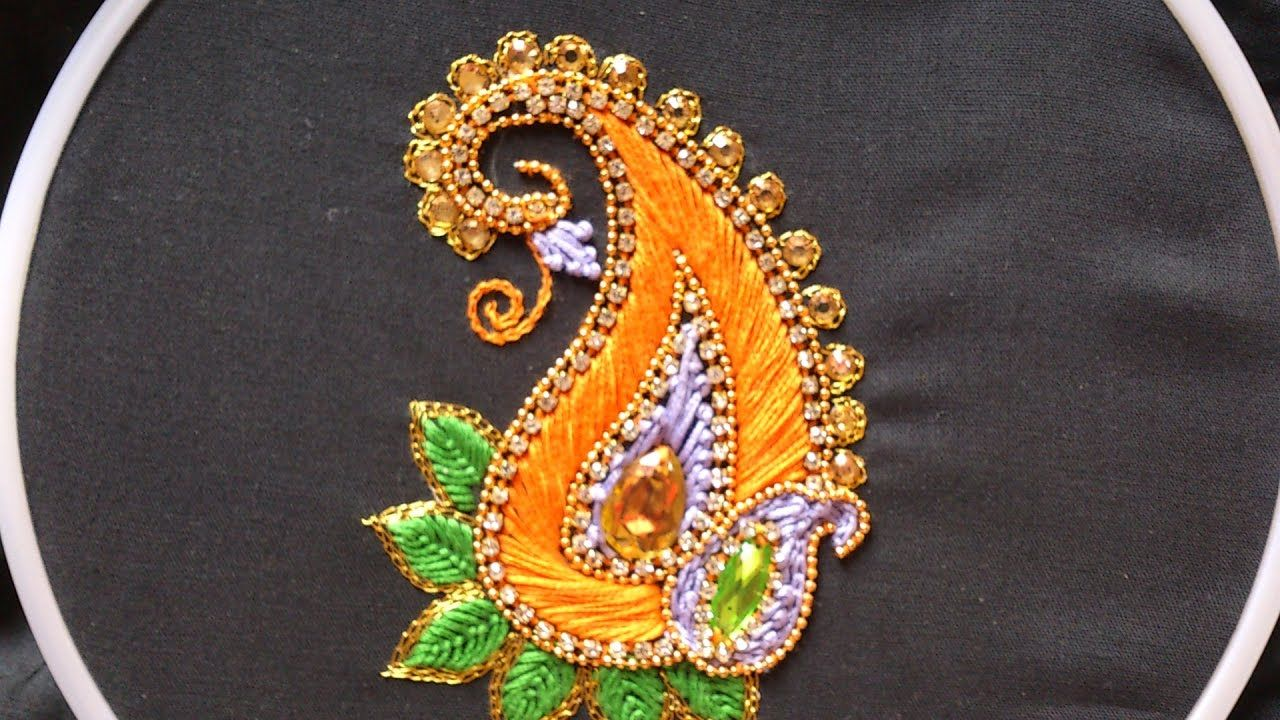 Hand embroidery designs aari style embroidery for ghagras dresses