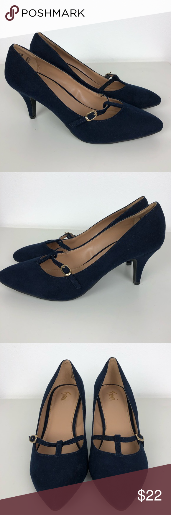 68160e136202 Fioni Lucy Navy T Strap Fabric Upper Low Heels-9 Women s Fioni Lucy T  Strap