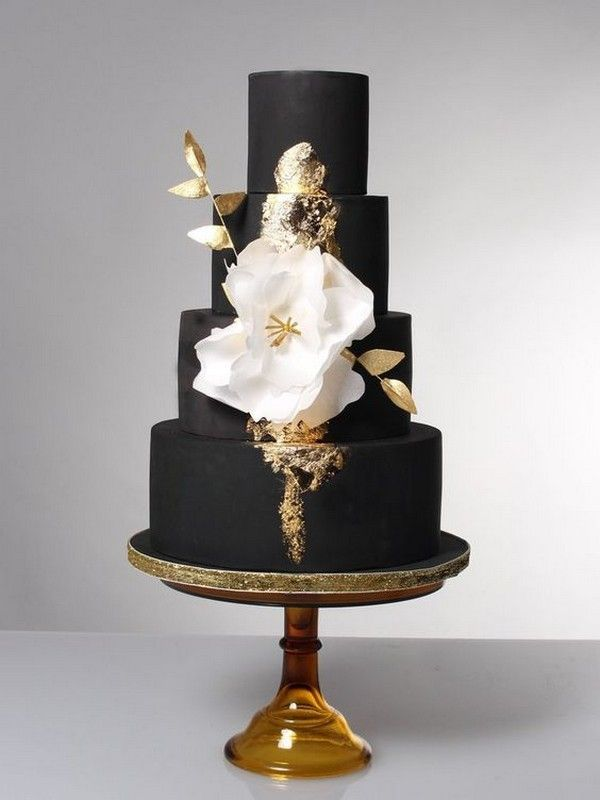 black and gold wedding cake with fantasy flower  weddingideas     black and gold wedding cake with fantasy flower  weddingideas   blackweddingcakes  weddingcake  weddingcakes