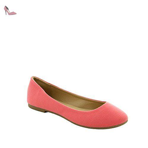 7bb9e1c7eb235 Ideal Shoes - Ballerine basique de couleur Penny Corail 39 - Chaussures ideal  shoes (