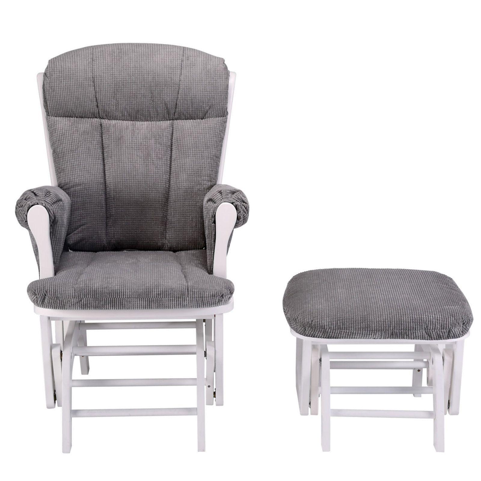 Mini Uno Prestige Nursing Glider Chair Footstool White Grey
