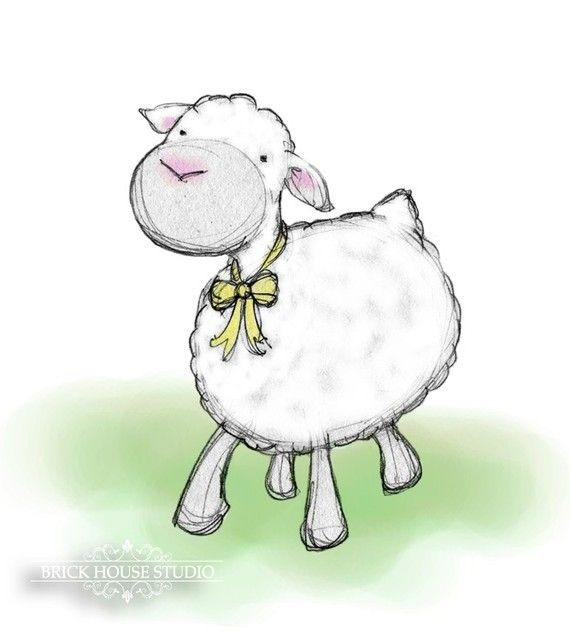 Pascua Wall Art - primavera cordero, 8x10 Ilustración | ovejitas ...