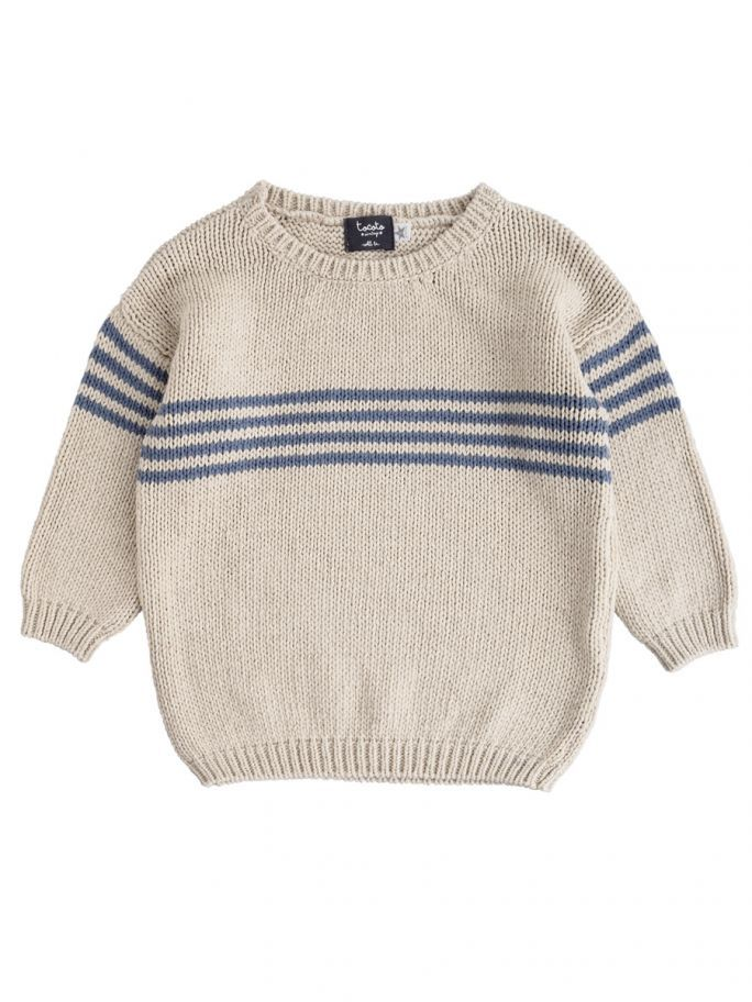 3681f5b592ea Tocoto Vintage Knitted Baby Stripes Jumper in Blue SS18   Scandi ...