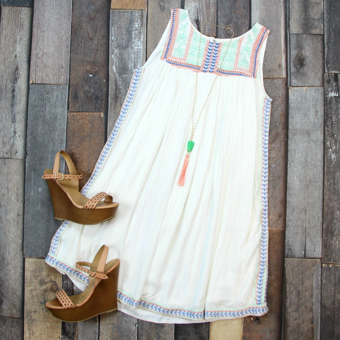 Our new Bohemian Embroidered Sundress in Ivory is EVERYTHING! Seriously OBSESSED! Shop EVERYTHING $42 or LESS!