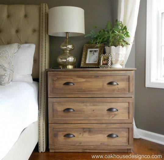 How to turn a $35 IKEA dresser into a highend vintage nightstand is part of Nightstand Drawer Organization - A blogger shares her IKEA hack that transforms a cheap dresser into an expensive luxurious looking nightstand