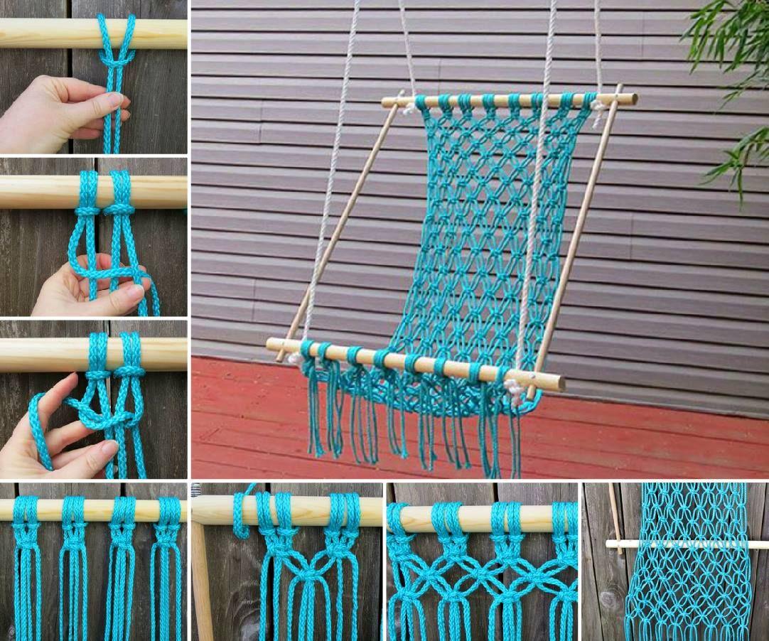 macrame hammock chair a super easy diy   the whoot macrame hanging chair diy is super easy to make   crochet hammock      rh   pinterest co uk
