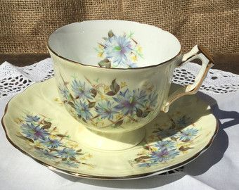Vintage Aynsley Tea Cup and Saucer, Blue Aster Tea Cup and Saucer, Aynsley Cup and Saucer