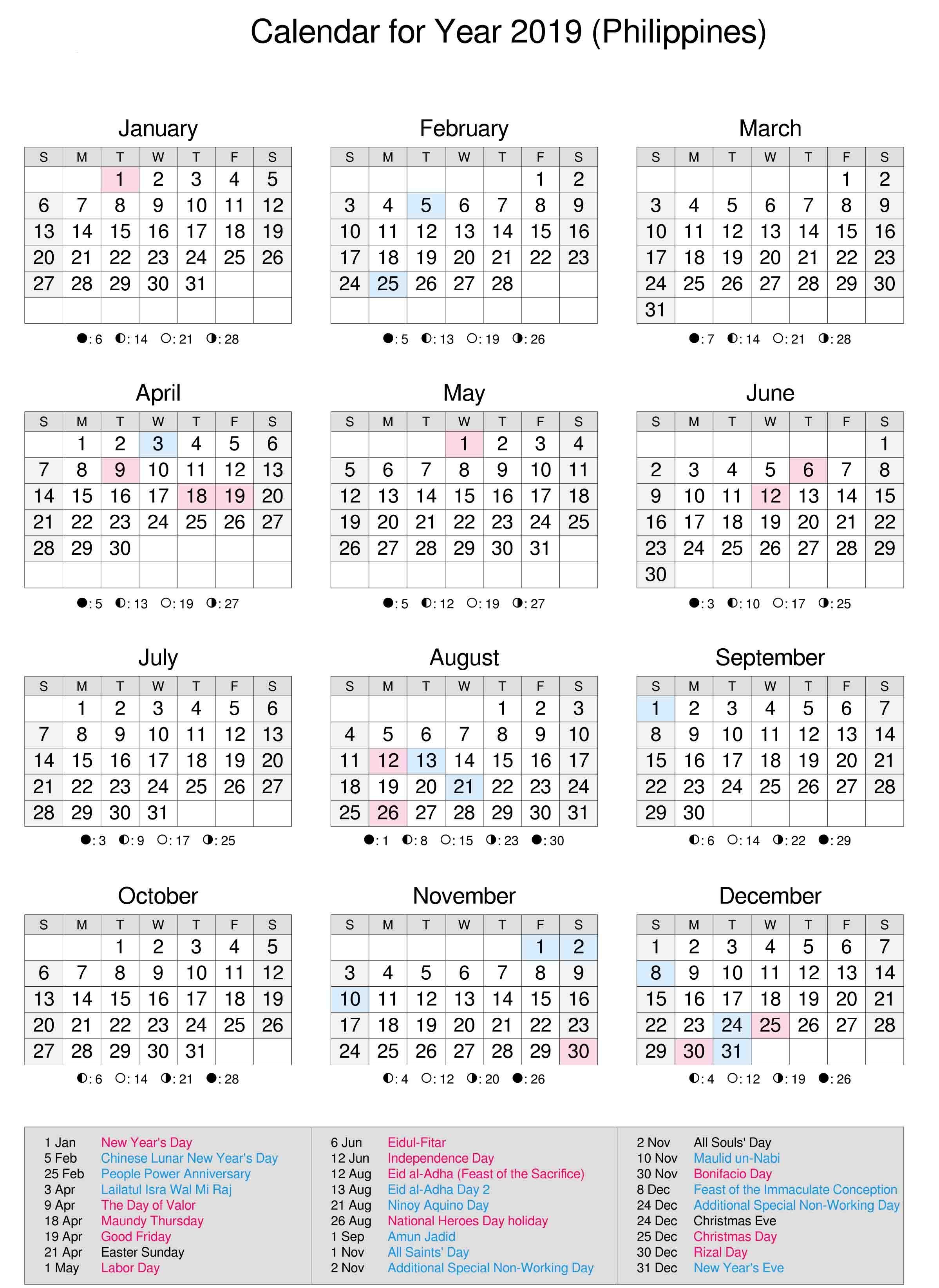 Philippines 2019 Calendar Calendar Printables 2019 Calendar