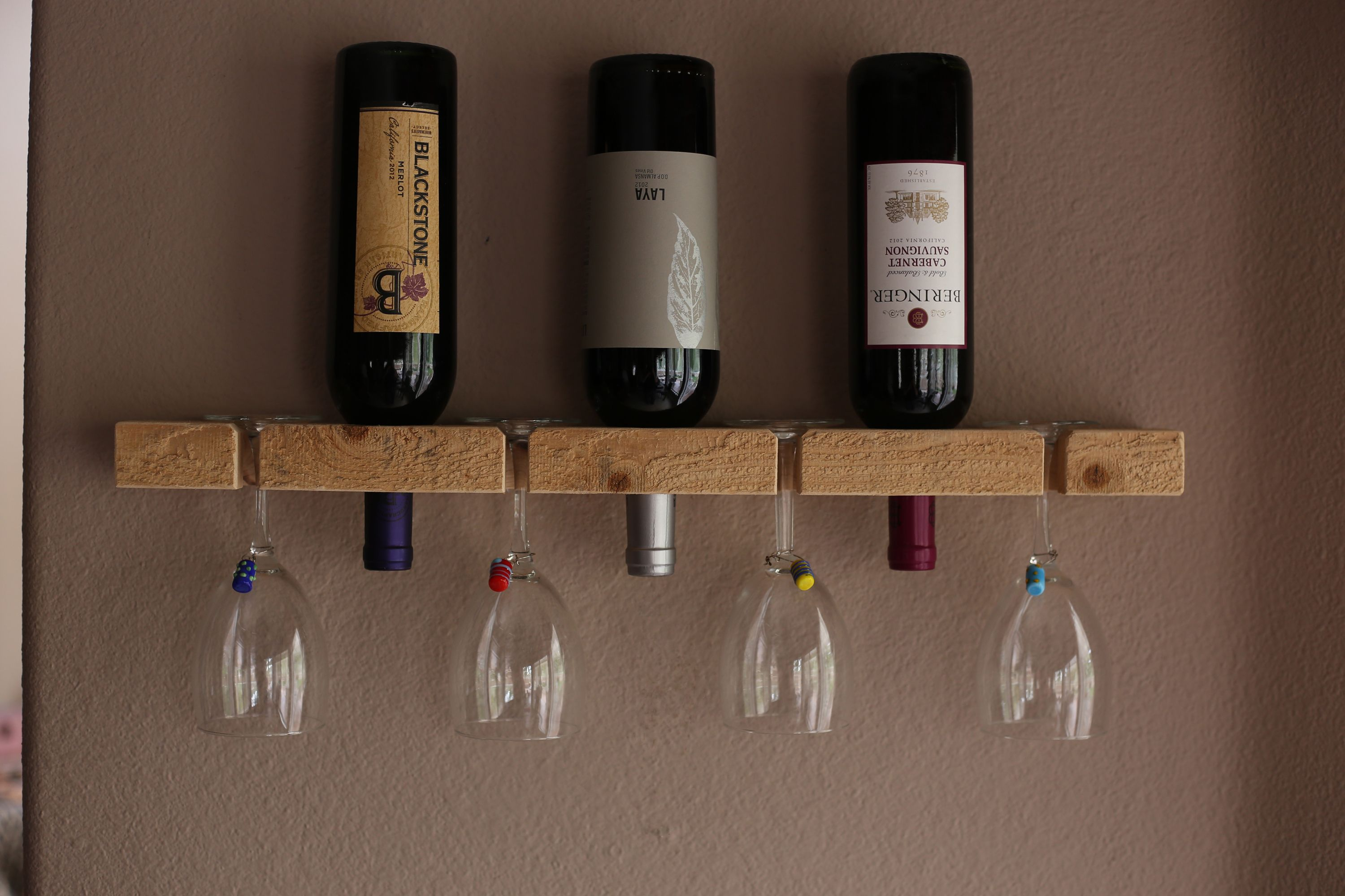 Wooden Wall Mount Wine Rack Made Of One Solid Piece Of