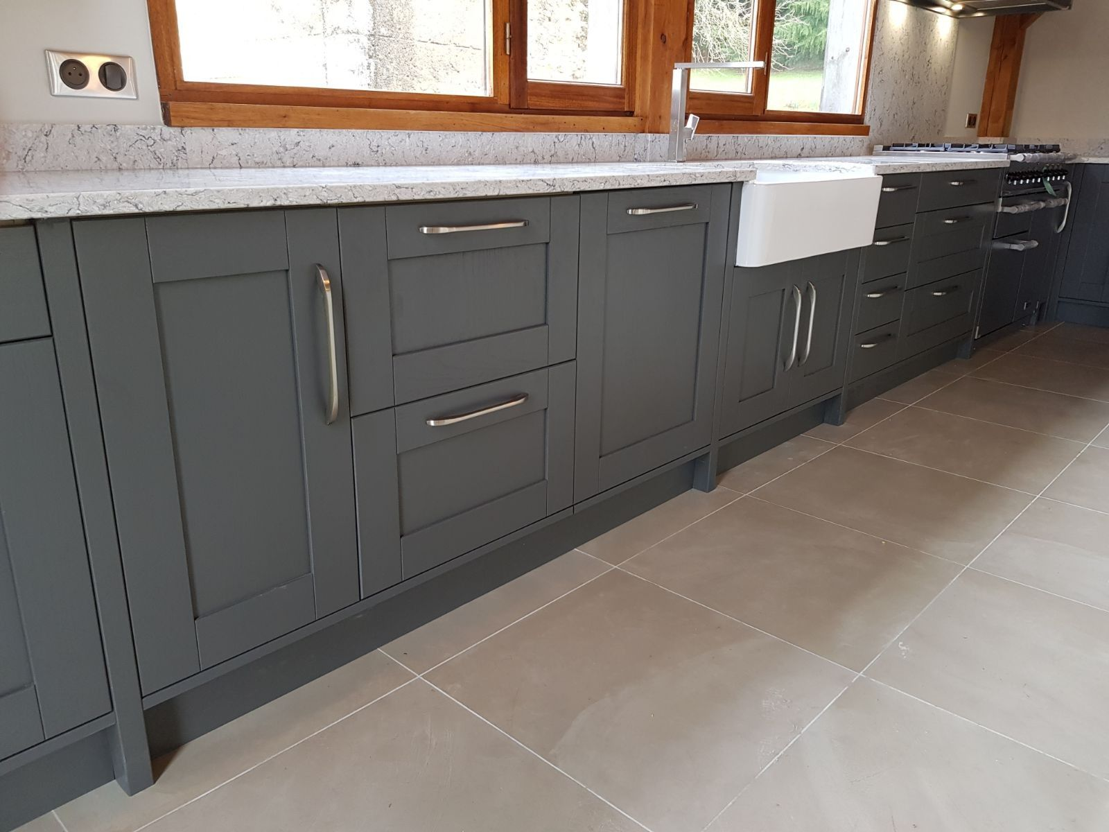 Best Lava Grey Solid Wooden Kitchen By Kitchens France With 400 x 300