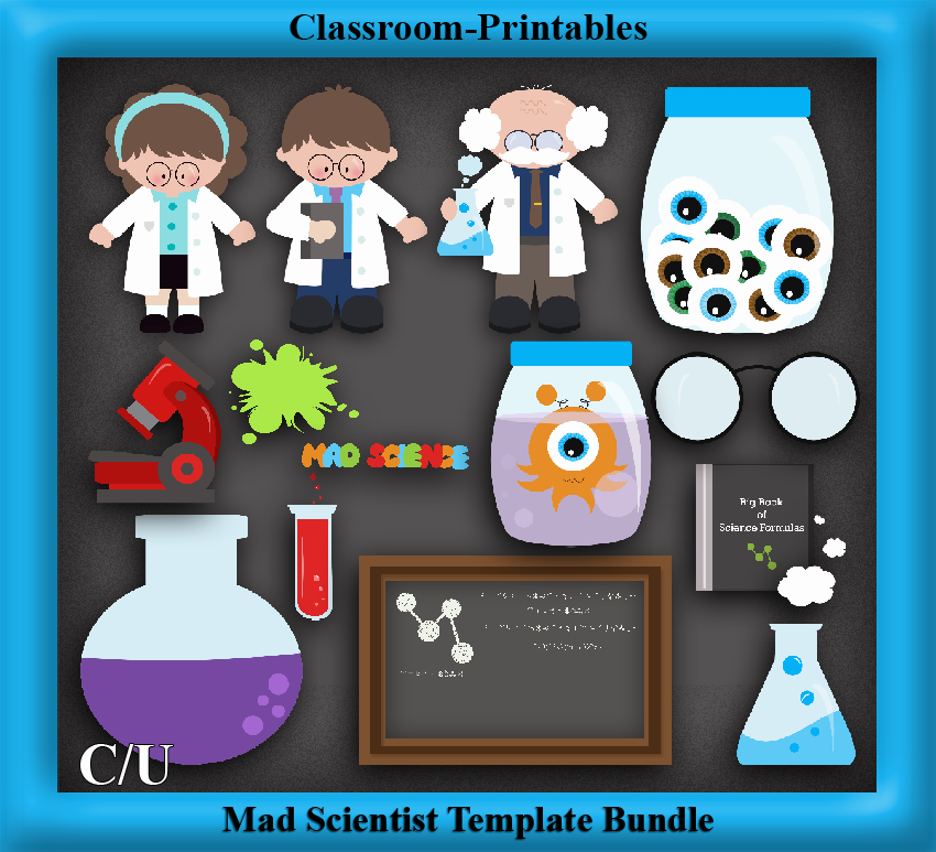Clipart Templates for Scrapbooking. Mad Scientist Clipart
