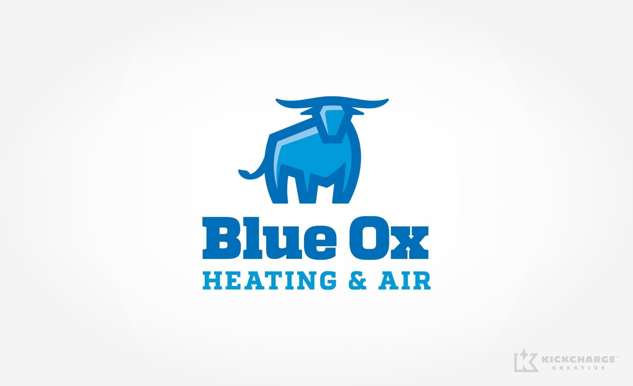 Blue Ox Heating Air Small Business Logo Design Small Business