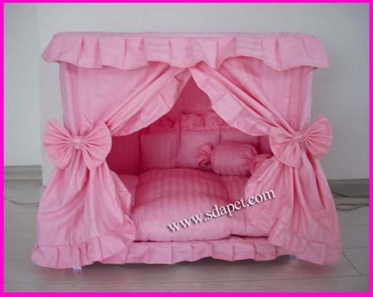 Letti A Baldacchino Per Cani : Details about charm princess pet dog cat handmade bed house pink