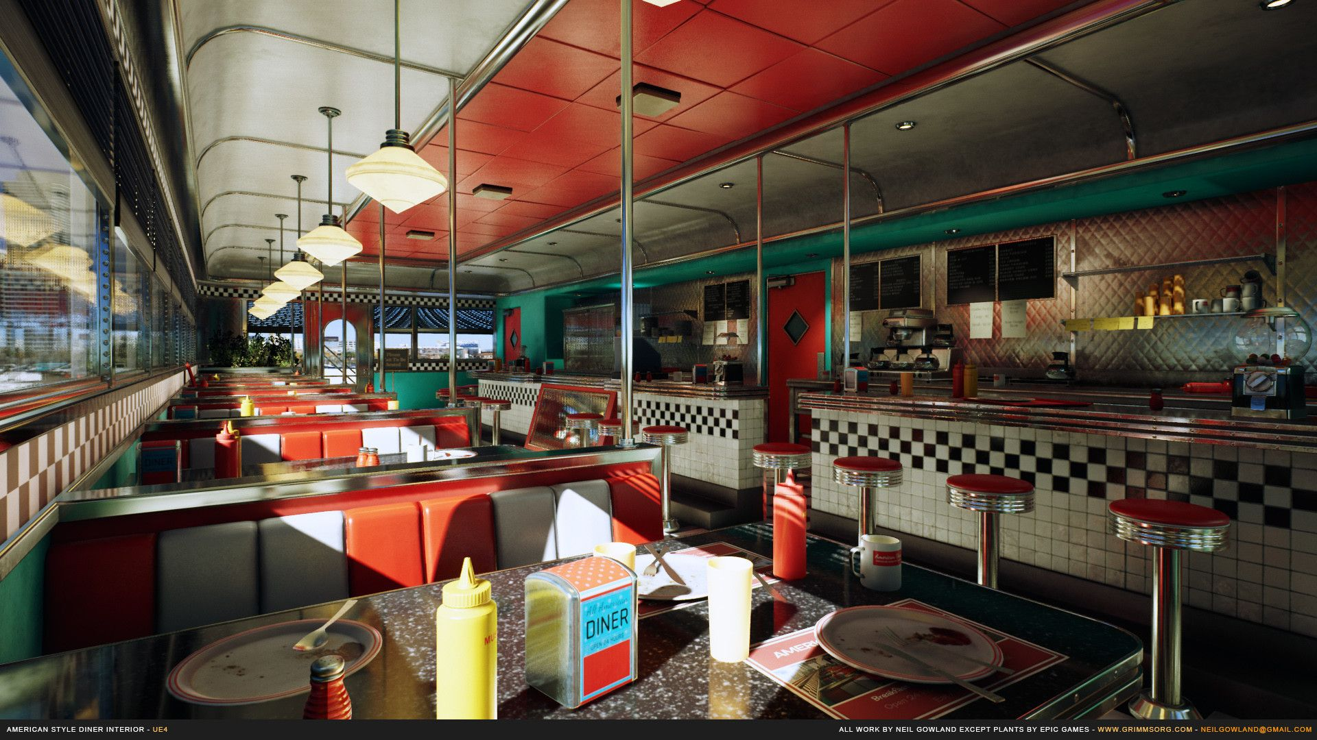 Artstation American Style Diner Interior Neil Gowland Diner