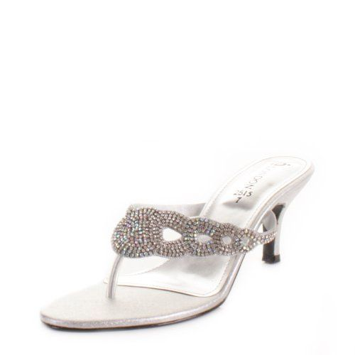 Womens Low Heel Diamante Satin Mule