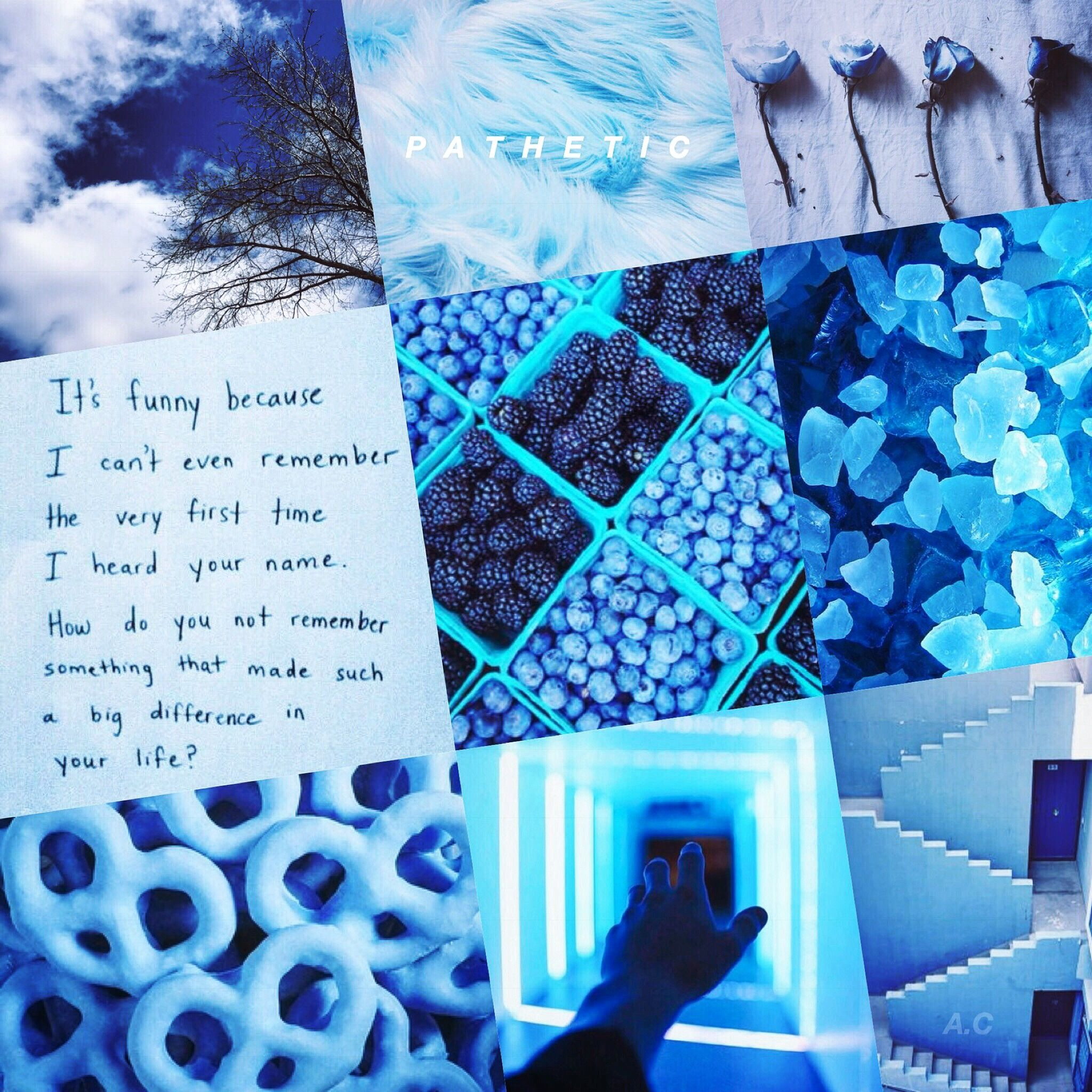 One of my baby blue pastel aesthetic mood board collages