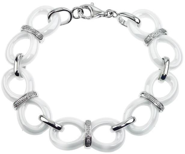 1/10 CT Diamond Link Bracelet in Ceramic and Sterling Silver by Ax Jewelry