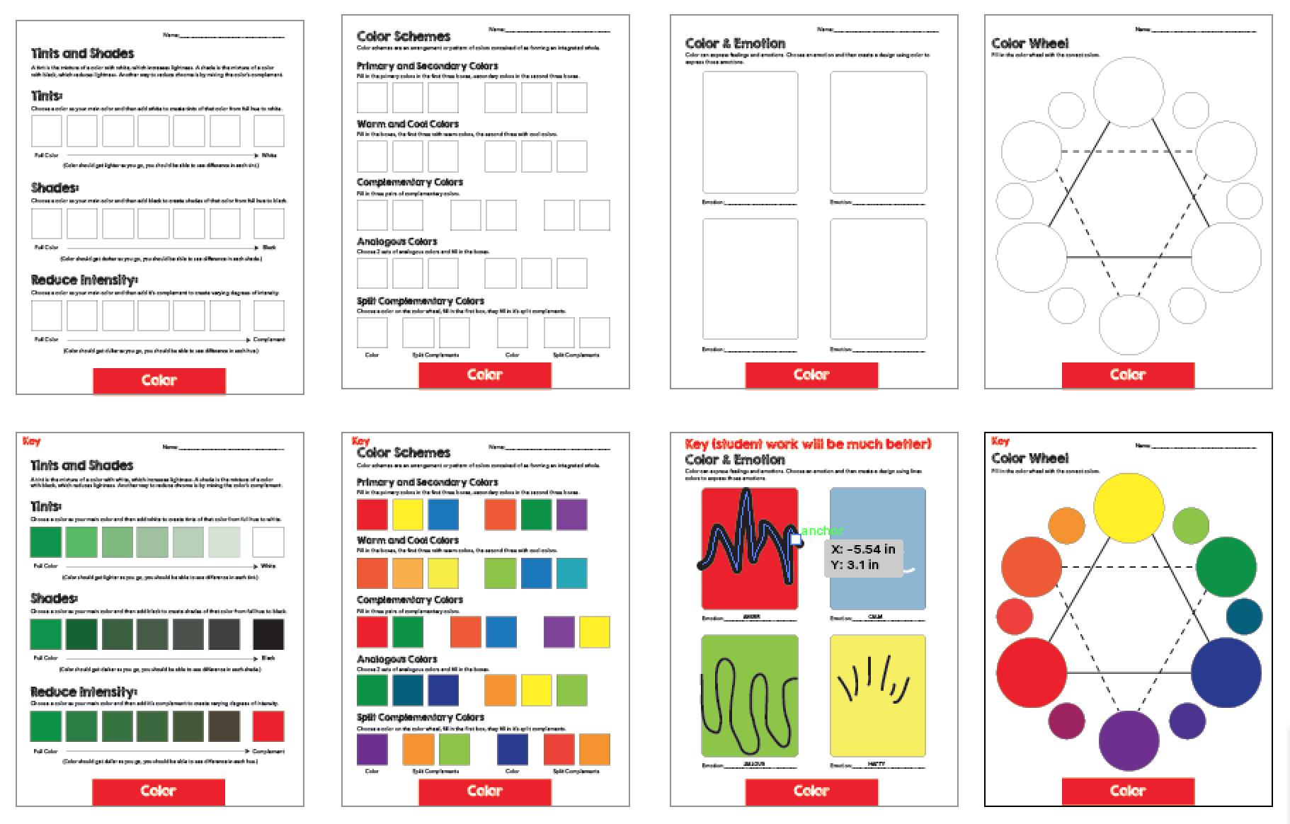 Worksheet Middle School Color Scheme