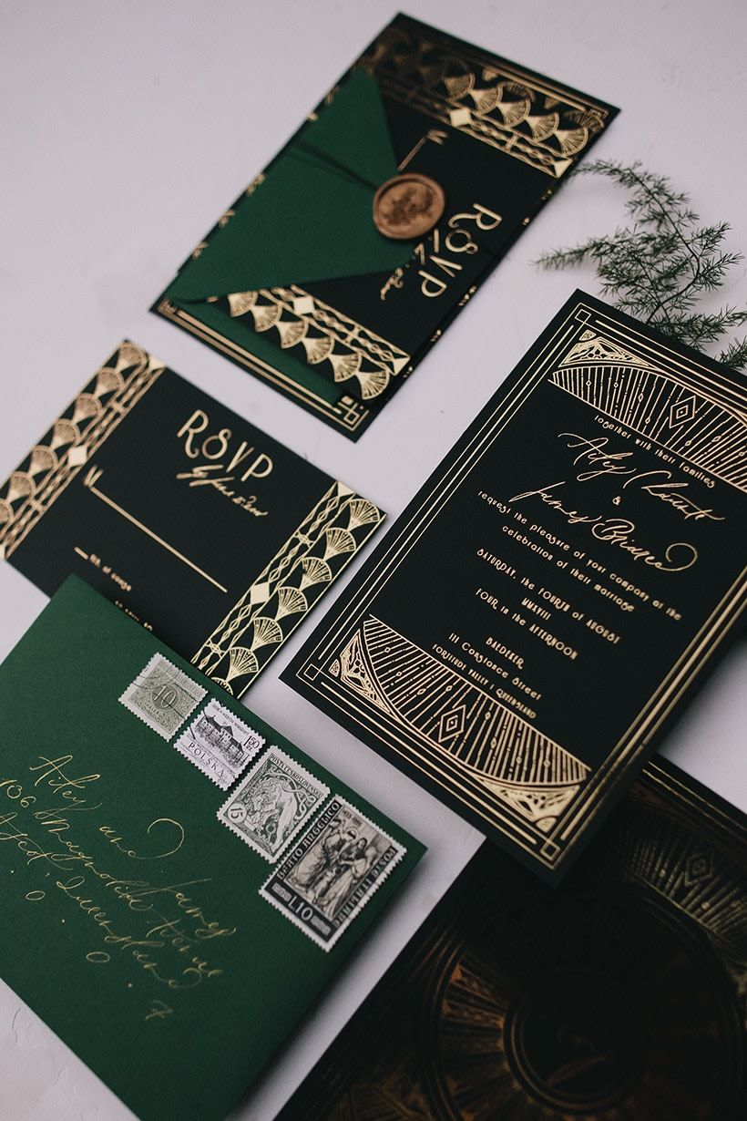 Emerald Art Deco Wedding Inspiration 7
