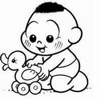 Desenho De Cascao Baby Brincando Com Patinho Para Colorir