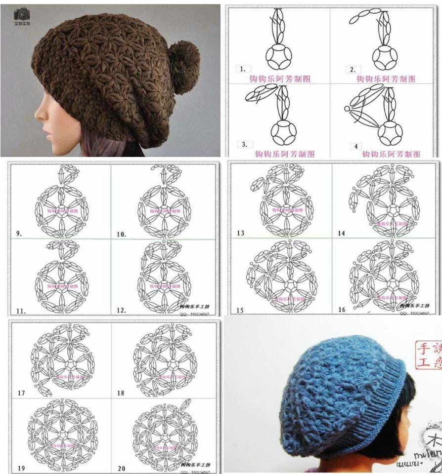 Increíble Patrones De Crochet Sombrero Fresco Bosquejo - Manta de ...