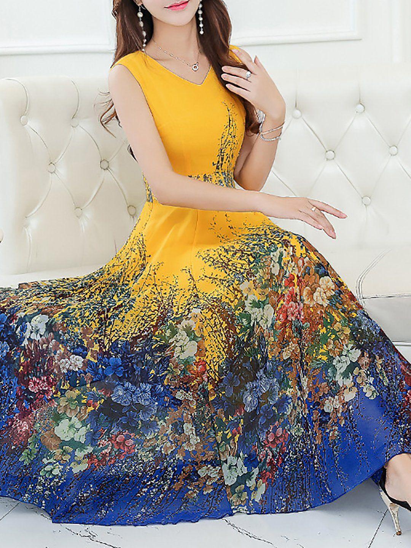 Elegant Sleeveless Chiffon V Neck Plus Size Midi Dress ...
