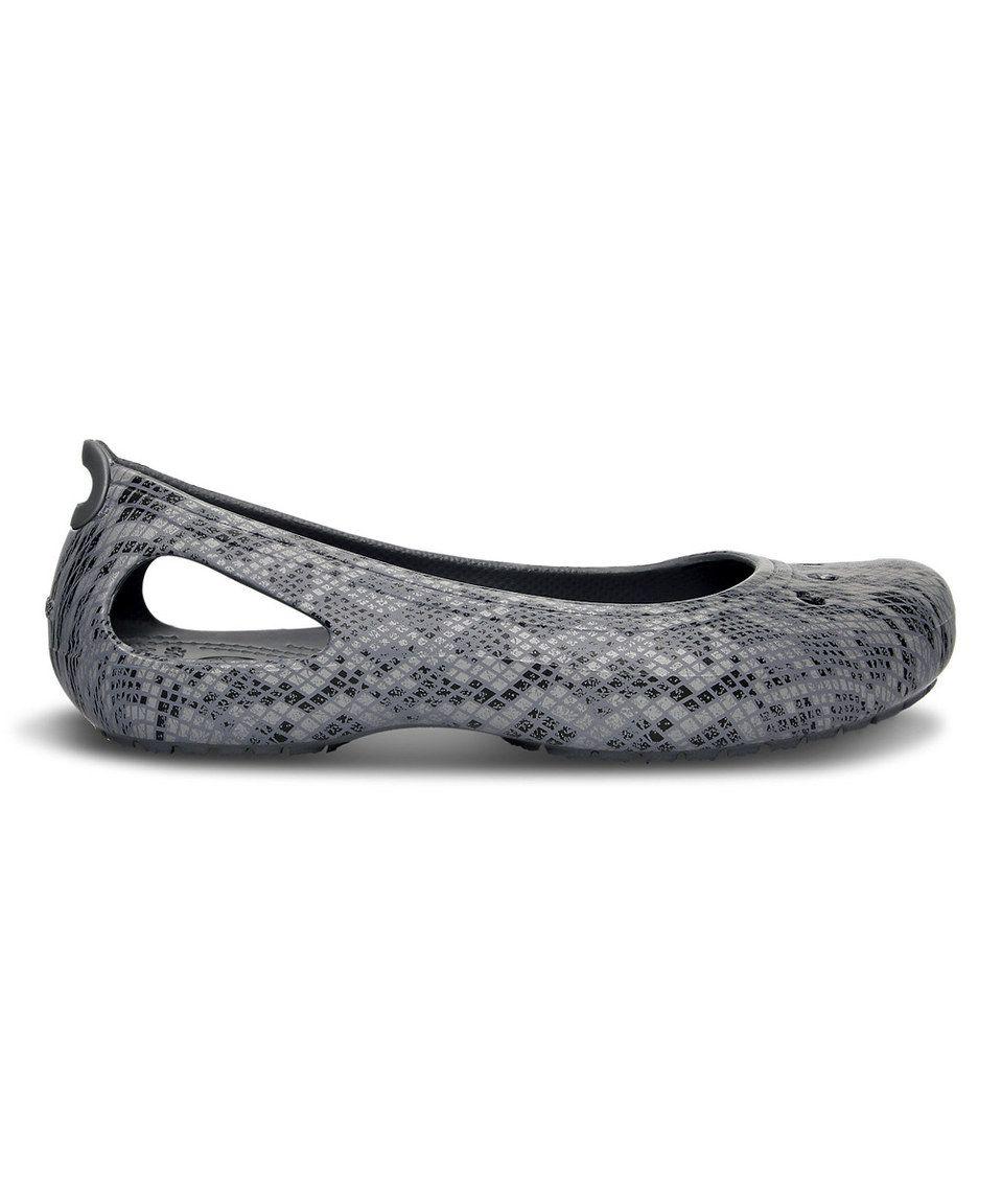 276ac2833424a3 Crocs Black   Silver Kadee Snake Print Flat - Women by Crocs  zulilyfinds