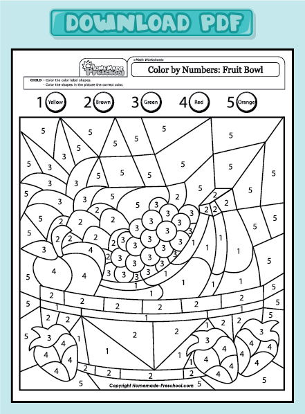 Get PDF | Coloring | Preschool worksheets, Color by numbers ...