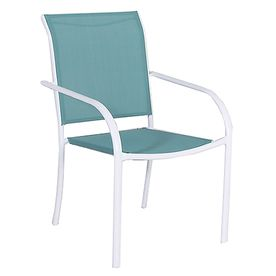 Style Selections Driscol White Sling Steel Stackable Patio Dining Chair