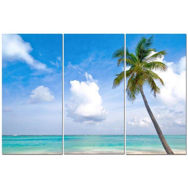 Vacation Beach Light Blue Water Palm Tree 12 X 24 3 Piece Canvas