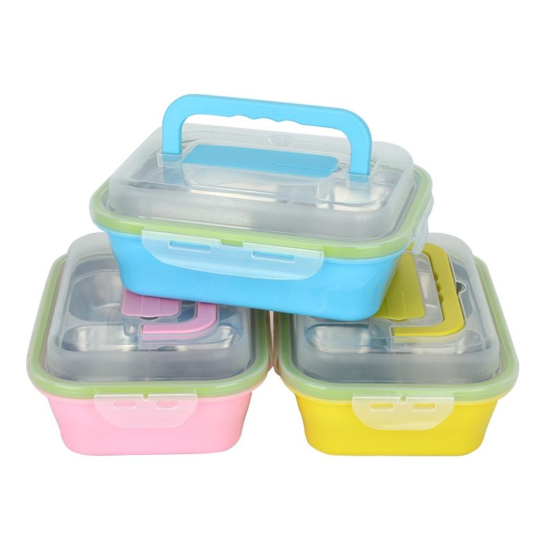 0f53c6e5c546 Korean Three Compartment Stainless Steel Lunch Box Leak Proof Hot ...