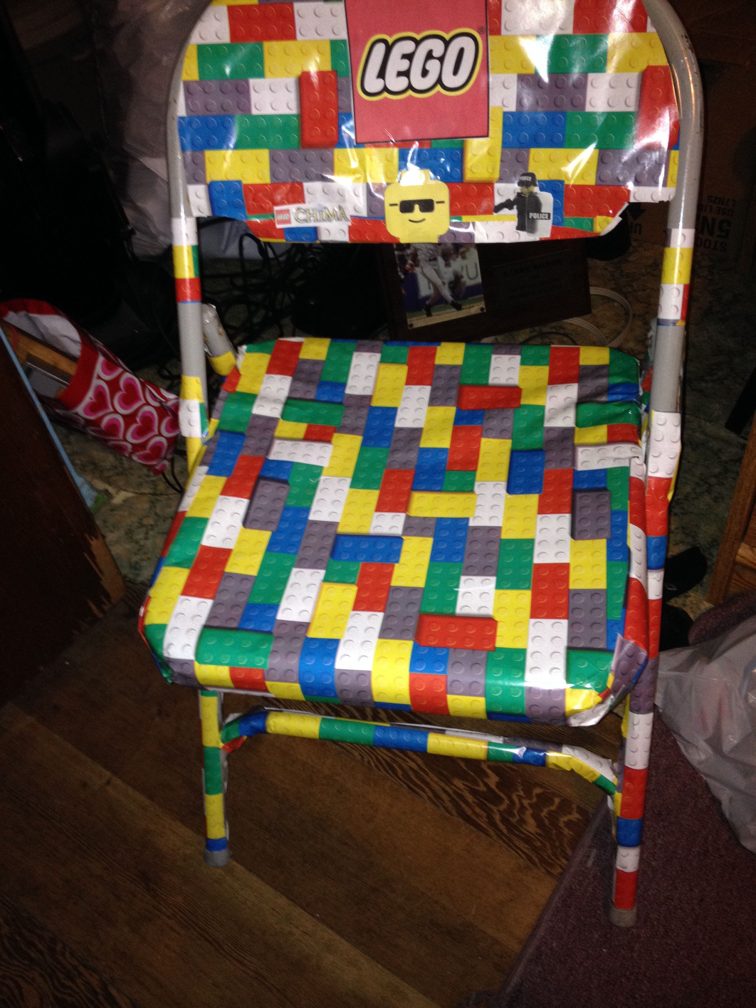 Lego Chair I Wrapped Lego Wrapping Paper Around The Chair And Then Printed Out Some Lego Icons Chair Decor High Chair