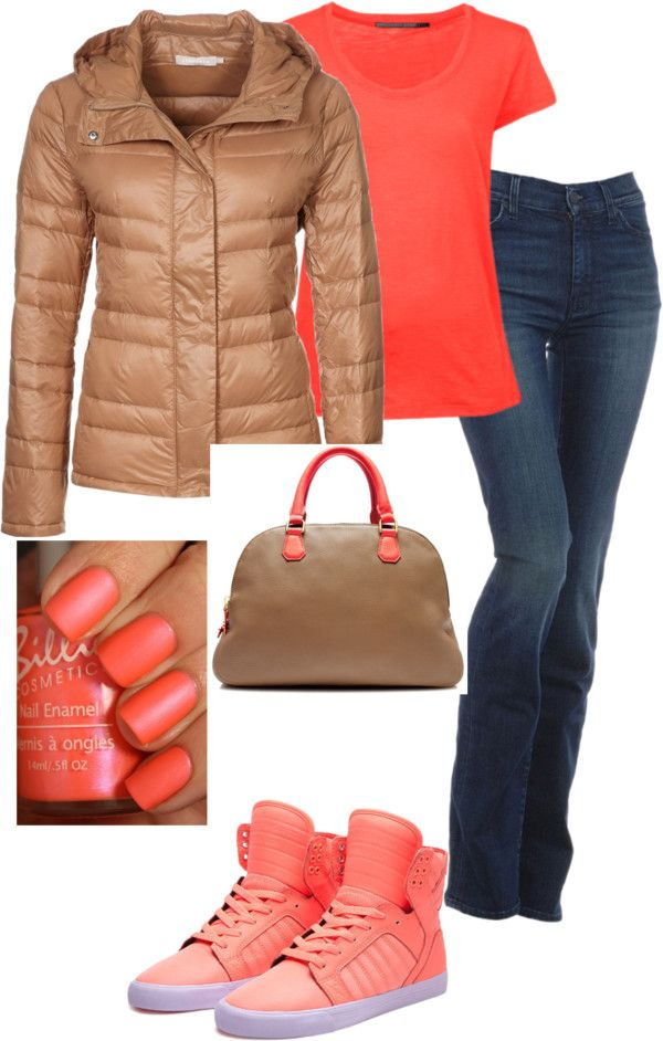 """""""Khaki Coral Biker Inspired"""" by demona941 on Polyvore"""