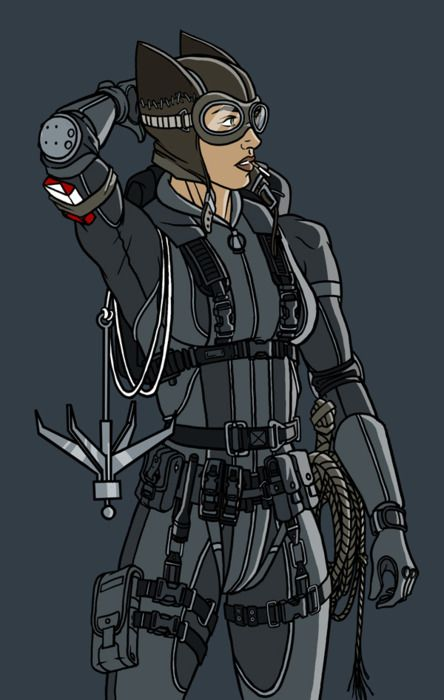 Catwoman.  LOVE that she has so many accoutrements like an actual cat burgler would. (Steampunk Gadgets Armors)