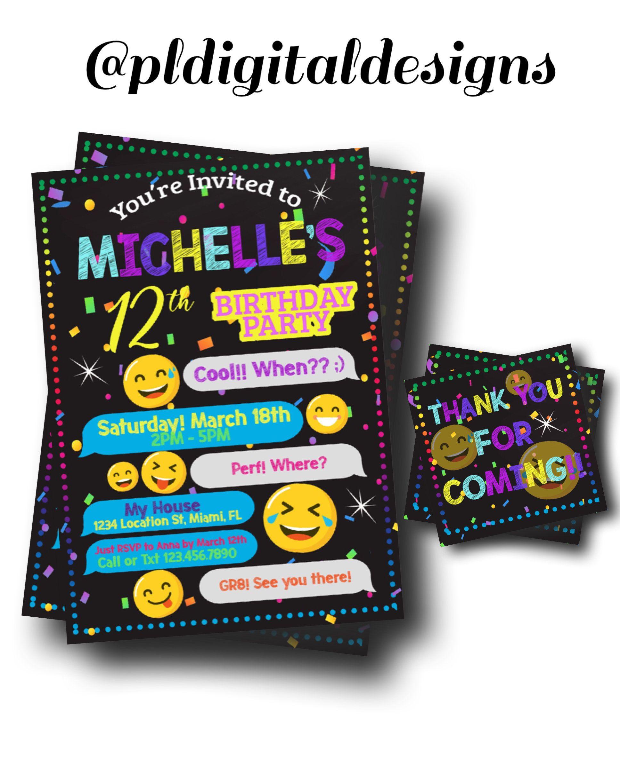 Emoji Party Invitation - Tween Party Invite - Text Emoji Invitation ...
