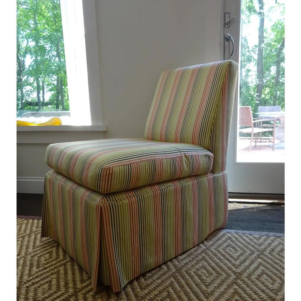 Stripped High Back Slipper Chair Chairish Chair