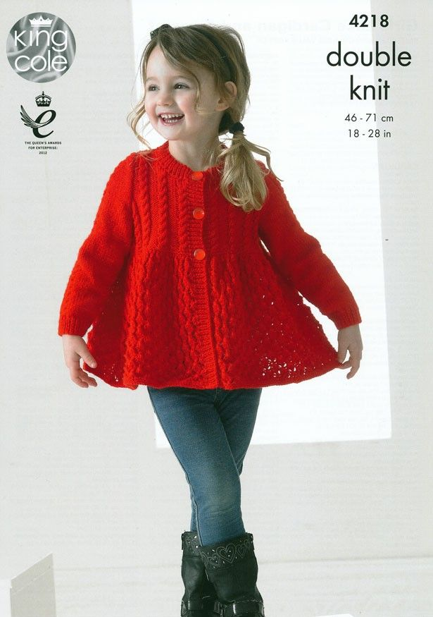 Girls Lace Cardigan and Sweater in King Cole Big Value Baby DK (4218 ...