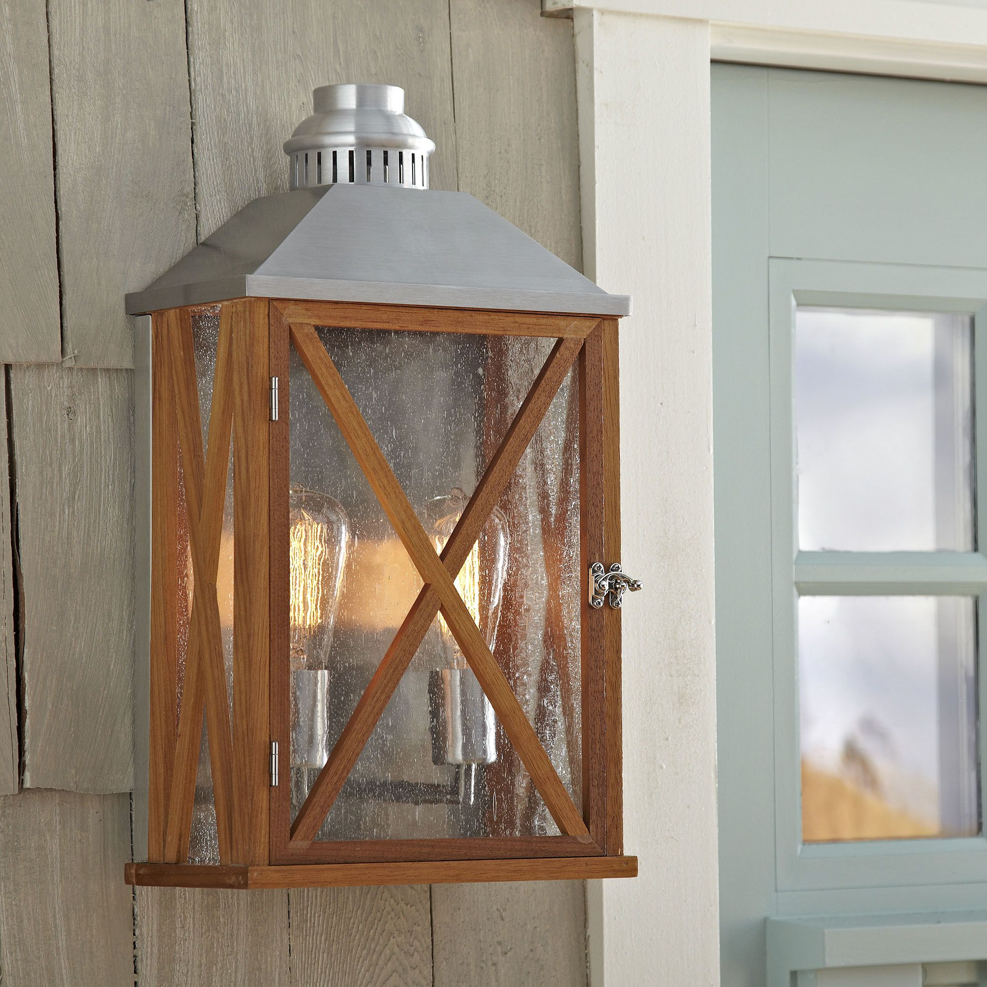 Sandy Bay 2-Light Lantern Sconce | Evoking remote shore houses and rustic camps, the Sandy Bay two-light lantern-style sconce brings ample light to walkways, breezeways, porches and more. Rated for outdoor use.